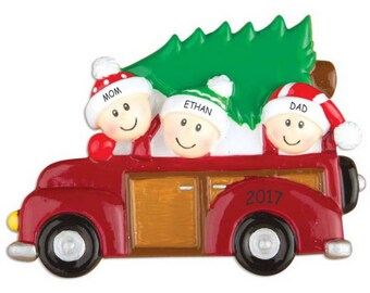 Personalized Family Tree Christmas Ornament - Family of 3