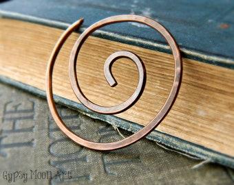 Copper Shawl Pin.  Spiral Copper Shawl Pin Boho Brooch