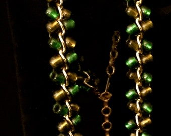 60's Green and Gold Glass Bead Necklace                     VG1279
