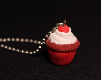 Lovely Velvet Miniature Cupcake Charm Keychain/Necklace Cute Sweets