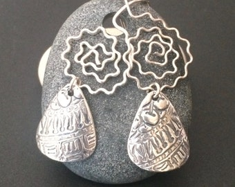 Crinkled Silver Teardrops - Textured PMC Mini Guitar Picks - Emanation Earrings - Small Fine Silver Dangles