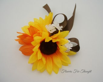 Sunflower wrist corsage, Yellow orange wedding flowers, Bridal Party decoration, Prom gift, 1 corsage
