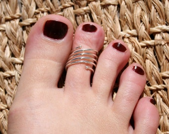 Yoga Spiral Toe Ring / Sterling Silver / Semi-Adjustable / Wear as a Finger Ring