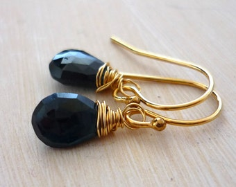 Ink blue sapphire briolette & 14kt gold filled dainty earrings. something blue