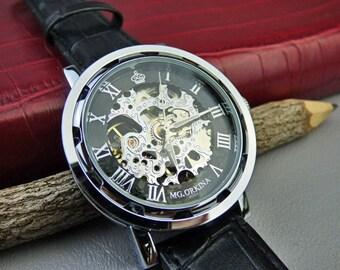 Skeleton Steampunk Mechanical Wrist Watch, Black Leather Wristband, Men's Watch, Engravable, Gift Box - Item MWA69ok