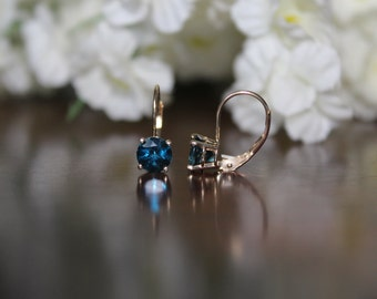 Valentine's Day Gift, 14k Yellow Gold 6mm London Blue Topaz Lever-Back Earrings - Gemstone Earrings - Birthstone Anniversary Gifts for Women