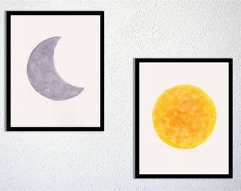 Sun and moon painting watercolor, set of 2, home decor, nursery decor, baby kids room, wall art - digital file - instant download