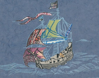 Sailing Ship XIX - Block Print with Mixed Papers - Lino Block Print Historic Sailing Ship, Exploration, Collaged Japanese Papers