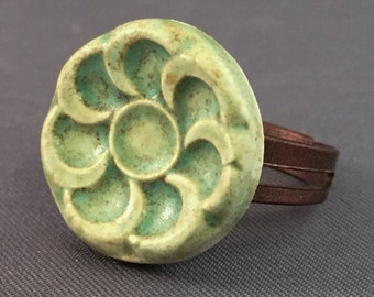Porcelain Ring Flower Ring Ceramic Ring Green Flower Round