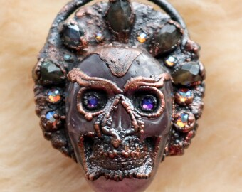 Amethyst Skull Ring, Tribal Ring, Statement Ring, Large Statement Jewelry, Crystal Skulls, Gothic Jewelry, Copper Electroformed Crystal Ring