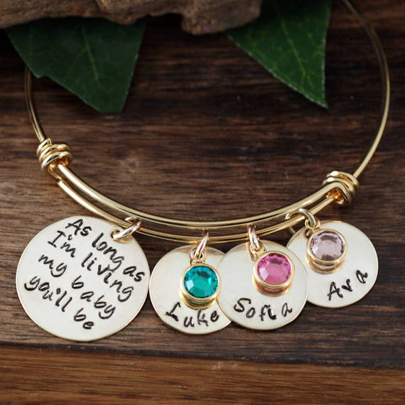 Custom Bangle Bracelet, As long as I'm Living my Baby You'll be Bracelet, Personalized Mom Charm Bracelet,  Personalized Bracelet