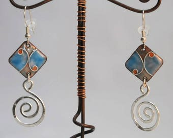Enamel partitioned, turquoise, with silver metal spiral earrings
