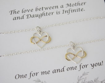 Mother and Daughter Necklace Gift Set, 2 Infinity Heart Necklaces, Daughter, Set of two, Sterling Silver and Gold, Mothers Day, Gift