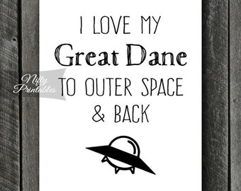 Great Dane Print - INSTANT DOWNLOAD Great Dane Art - Funny Great Dane Poster - Dog Great Dane Gifts - Printable Great Dane Wall Art