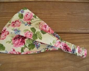 Womens Headband Fabric Headband Summer Fashion Accessories Women Headwrap Yoga Headband in Light yellow with Dusty Pink Roses print