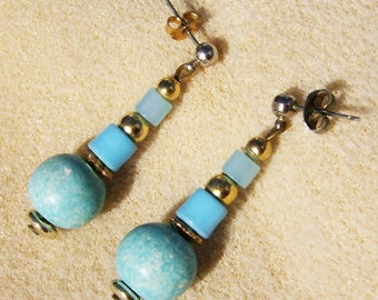 Handmade Turquoise Earrings - Handmade Ceramic & Glass with Gold, Silver Findings by JewelryArtistry - E497
