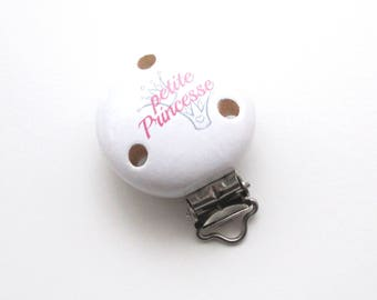 Little Princess - white/pink wooden clip