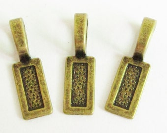 Bails -25pcs Antique Bronze Square Flat Back Bail Bead Charms for Scrable tiles 8x27mm D103-2