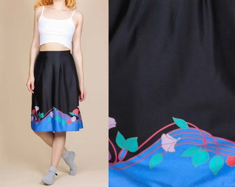 70s Floral Wrap Skirt - Medium // Vintage Knee Length High Waisted Midi