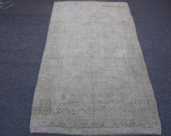 Vintage Turkish Handwoven Muted Oushak Rug,Entryway Rug,Nursery Rug,Low Pile Distressed Oushak Rug,Home Living Floor Rug Ushak, 4''11x8''9