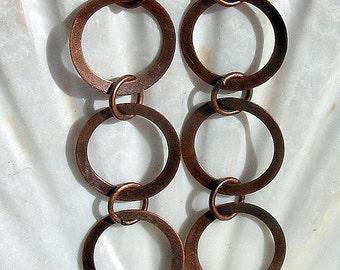 Copper Earrings, Triple Hoops...A bit Wild!,Jewelry