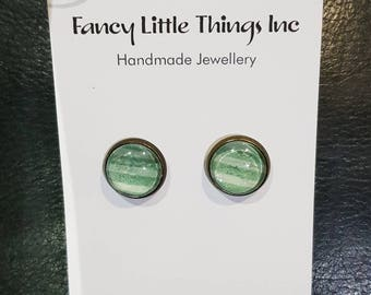12mm Green and White Stripe Cabachon Earrings