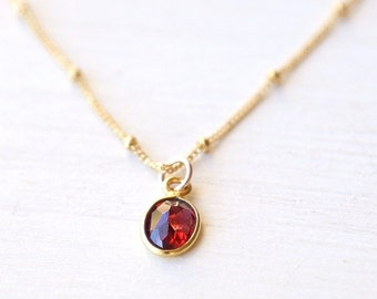 Tiny Garnet Gemstone Drop Necklace // 14K gold filled // simple red everyday wedding jewelry