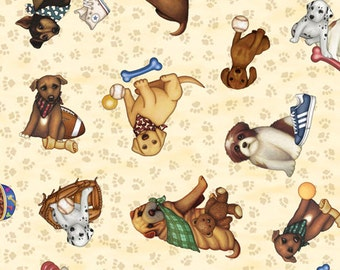 It's A Ruff Life Fabric, Dog Fabric, Quilting Treasures Fabric, Fabric by the Half Yard