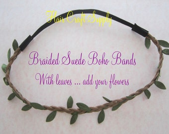 Braided Suede Headbands for Boho Chic Headbands - add your own flowers, make your own headband from Hair Craft Supply
