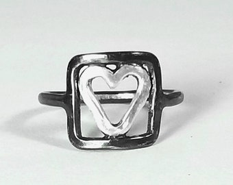 Heart Ring Heart In Square Ring MADE TO ORDER Handmade Oxidized Silver Love Jewelry Lovers Fathers Day Gift Unisex Jewelry Gift For Her