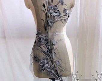 Black & Grey Floral Lace Appliques Delicate Wedding Embroidery Collar Flower dance costumes ballet garments cheongsam S0728