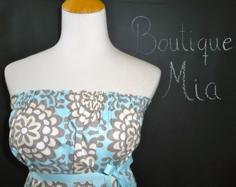 Strapless DRESS - Amy Butler - Lotus - Made in ANY Size - Boutique Mia by CXV