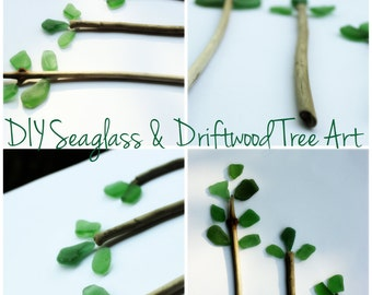 DIY Seaglass and Driftwood Tree Art Project , 15 Piece Loose Supply collection for you to Create With DT15