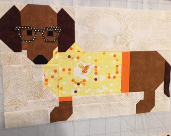 PATTERN DOGS in SWEATERS Quilt and Pillow pattern 2 sizes with Dachsunds Doxie Dogs    We combine shipping