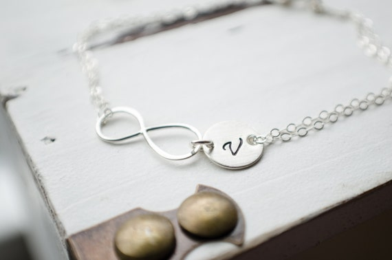 Sterling Infinity Initial Bracelet - Personalized Initial Jewelry Wedding or Anniversary Gift, Letter Charm Pendant
