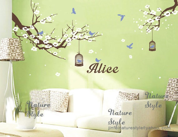 cherry blossom wall decals baby name wall decals nursery wall