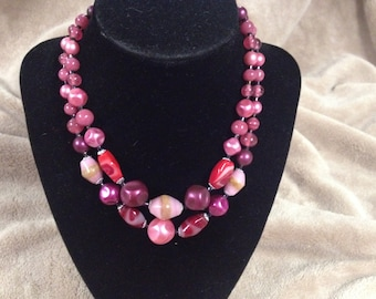 Vintage Pink Glass Beaded Double Necklace, Length 16''
