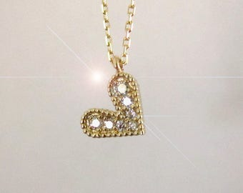Diamond and 14k Gold Heart Necklace ~ Yellow, White or Rose Gold ~ 14k White Gold Ready to Ship ~ Free US Shipping