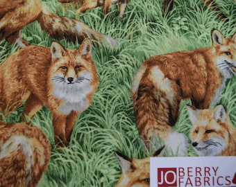 Red Foxes from the American Wildlife Collection by Fabri-Quilt.  Quilt or Craft Fabric. Fabric by the Yard.