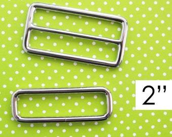 Strap Adjuster Hardware 2 Inch | Slider and rectangle ring hardware to make a wide adjustable strap for messenger cross body diaper bags.