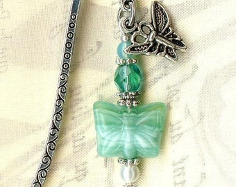MINI bookmark ✿PAPILLON Bohemian EMERALD glass MP165 ✿