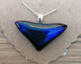 Midnight Blue and Purple Dichroic Glass, Sterling Silver Pendant on a sterling silver chain.