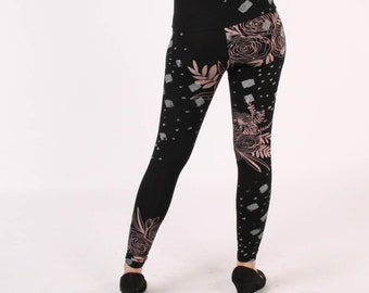 Leggings - Black and Peach Floral
