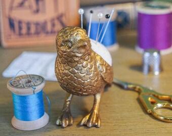 Bird Pincushion - Gold Pewter
