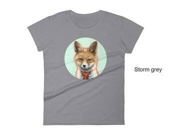 Fox women's t-shirt, fox t-shirt,  animal t-shirt, cotton t-shirt, fox with tie t-shirt, woodland animal shirt, women's shirt, cute fox