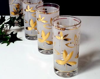 60s Highball Glasses - Set of 4 Frosted Glasses with Gold Leaves Motif - Madmen Bar Ware