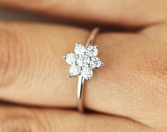 Diamond Wedding Band, Diamond Ring, Natural Diamond Wedding Ring, Diamond Engagement Band, Diamond Engagement Ring, Flower Diamond Ring