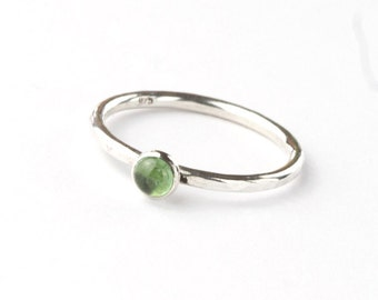 Envy - Handmade Green Tourmaline and Sterling Silver Ring Hammered