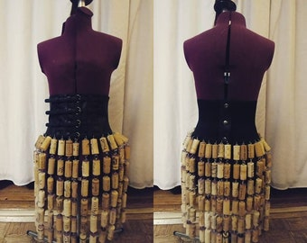 Post Apocalyptic Wine Cork Fringe Skirt