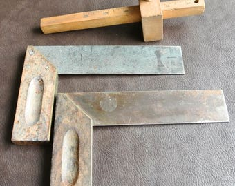 Vintage Tools, Vintage Carpenter Tools, Wooden Scribe,  Wood Handle Tri Squares, Set of 3, Woodworking Tools, Retro Hand Tools